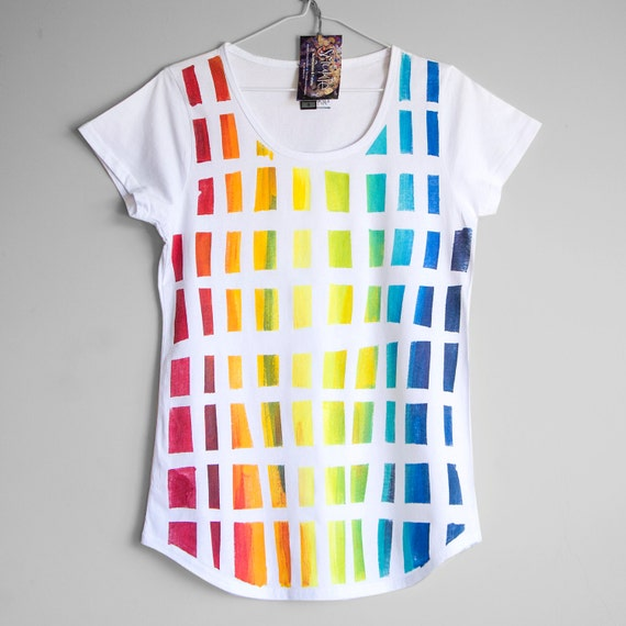 M BEHIND THE RAINBOW. Cotton T shirt for woman or girl. Tshirt with rainbow. Unique tees.
