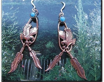 Solid Copper Earrings CE43SL - 2 1/4 inches long.