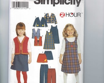 Girls Sewing Pattern Simplicity 9854 Girls Pants Jumper Vest Jacket Size 2 3 4 5 6 6x UNCUT