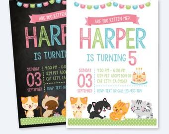 Cat invitation, Kitty cat invitation, Kitty cat birthday party, Kitten birthday Invitation, Pawty Invitation, Digital, 2 Options