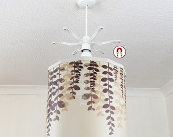 Brown Branches Lampshade + Magnetic Ereki Set, for Instant Room Decorating and Touchless Bulb Changing