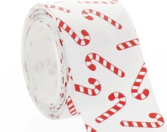 1.5 Red Candy Cane Grosgrain Ribbon - Choose Length