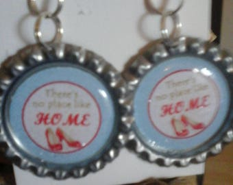 Ruby slippers bottle cap earrings
