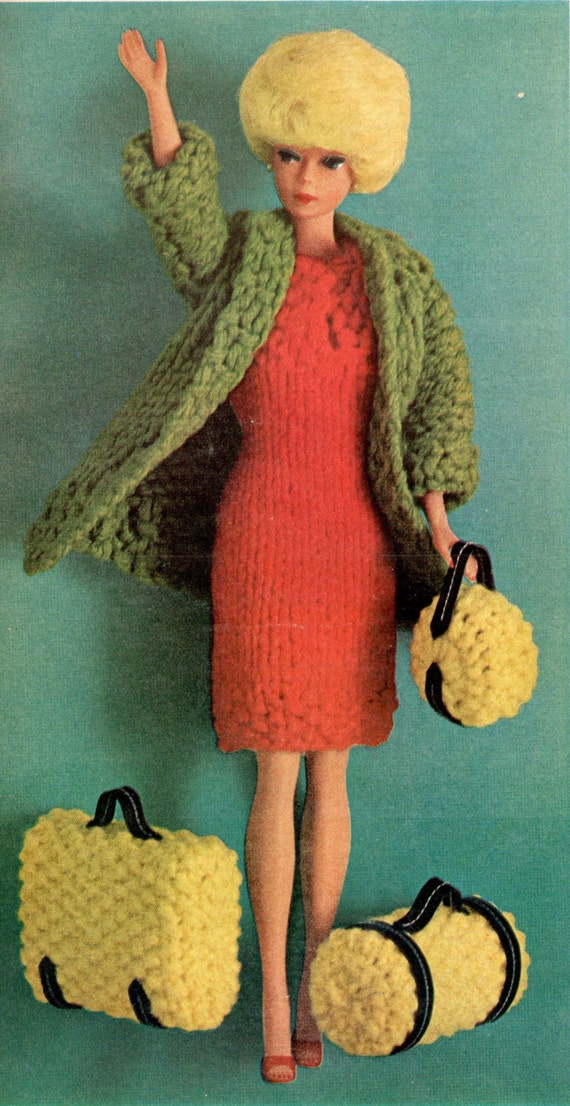 Barbie doll knitting pattern, barbie clothes, dolls clothes, vintage ...