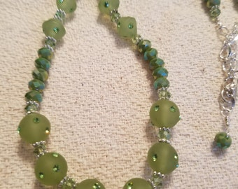 Green Swarovski crystal necklace and earring set
