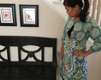 Tunic TOP or DRESS - 3/4 length sleeves - Amy Butler - Cameo - Made in any Size - Boutique Mia by CXV