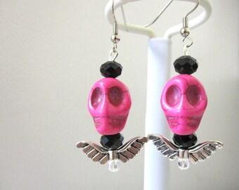 Sugar Skull Earrings Day of the Dead Jewelry Hot Pink Black