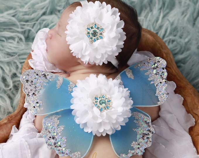 Blue, silver and white wing set for newborn photos, photo prop, newborn photographers, new baby, baby girl, baby wings by Lil Miss Sweet Pea