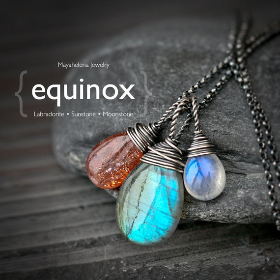 The Equinox  - Labradorite Moonstone and Sunstone Wire Wrapped Sterling Silver Necklace