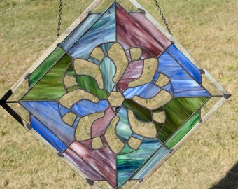 Stained Glass panel in Purple, Blue, & Green with  Pinwheel Bevels