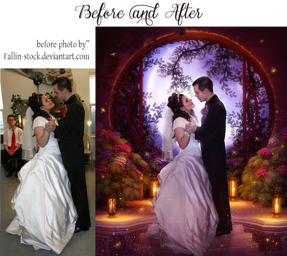 Custom wedding portrait comissioned digital art photo manipulation for couples