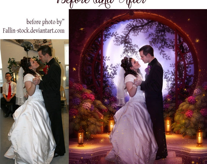 Custom wedding portrait comissioned digital art photo manipulation for couples