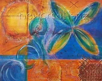 Pacific inspired painting print, acrylic mixed media art, abstract fiji wall art