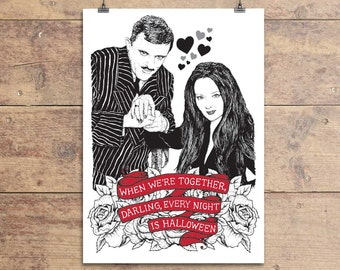 Morticia and Gomez Valentine's Greeting Card