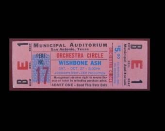 Wishbone Ash 1973 Wishbone Four Tour Originaal Unused Concert Ticket