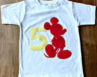 Mickey Mouse Birthday Shirt - Custom Name/Age 1, 2, 3, 4, 5, 6, 7, 8, Disney red yellow birthday mickey party minnie theme red yellow