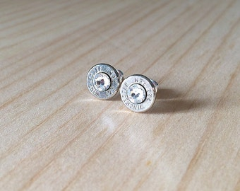 silver 223 Winchester Remington bullet earrings | Swarovski crystals | sterling silver studs | bullet studs | jewelry for her