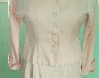 Bombshell 50s Soft Pink Dress and Jacket set by Polly Brief - M