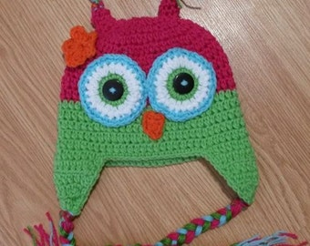 Premade owl hat size 2-4 year old