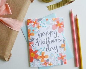 Mother's Day Card Floral, Coral and Orange, Pretty, Stationery, Hand Drawn, Illustration, Flowers, Flora, Notecards