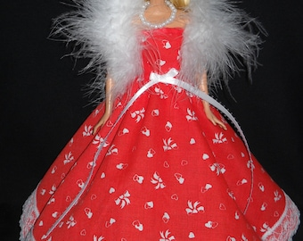 3 Piece Outfit Red with Hearts and Lace Gown Barbie Doll Dress Handmade with Boa and Necklace