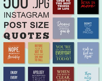 500 Instagram Essential Quotes Bundle, Instagram Template, Motivational Quotes, Inspirational Quotes, Typography Quotes, Instagram Graphics