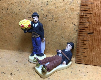 CHARLIE CHAPLIN The Little Tramp Movie Poses Actor Silent Films-  Feve Feves Porcelain Figurines Doll House Miniatures FF120
