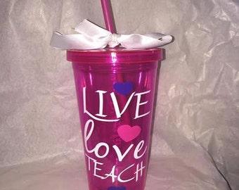 Live, Love, Teach Personalized Tumbler
