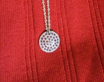 "Nine West Silver & Cranberry Rhinestones, 3/4"" diam pendant, on 17"" chain, Estate Vintage Jewelry PC104"