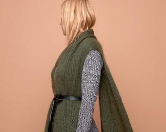 knit vest cape, olive, mohair, SABRINA WEIGT, knitwear,knit coat, knit jacket, mohair cardigan, chunky knit, oversized knit, bulky knitwear