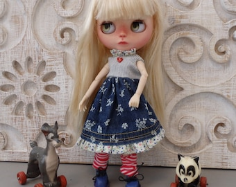 Handmade  denim floral Blythe Doll Dress