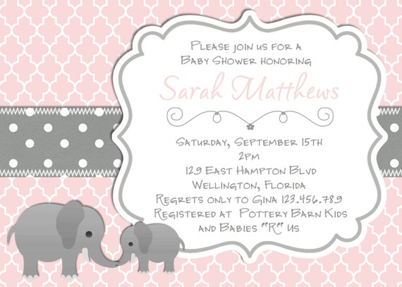 Elephant baby shower invitation baptism or christening pink like this item filmwisefo Images