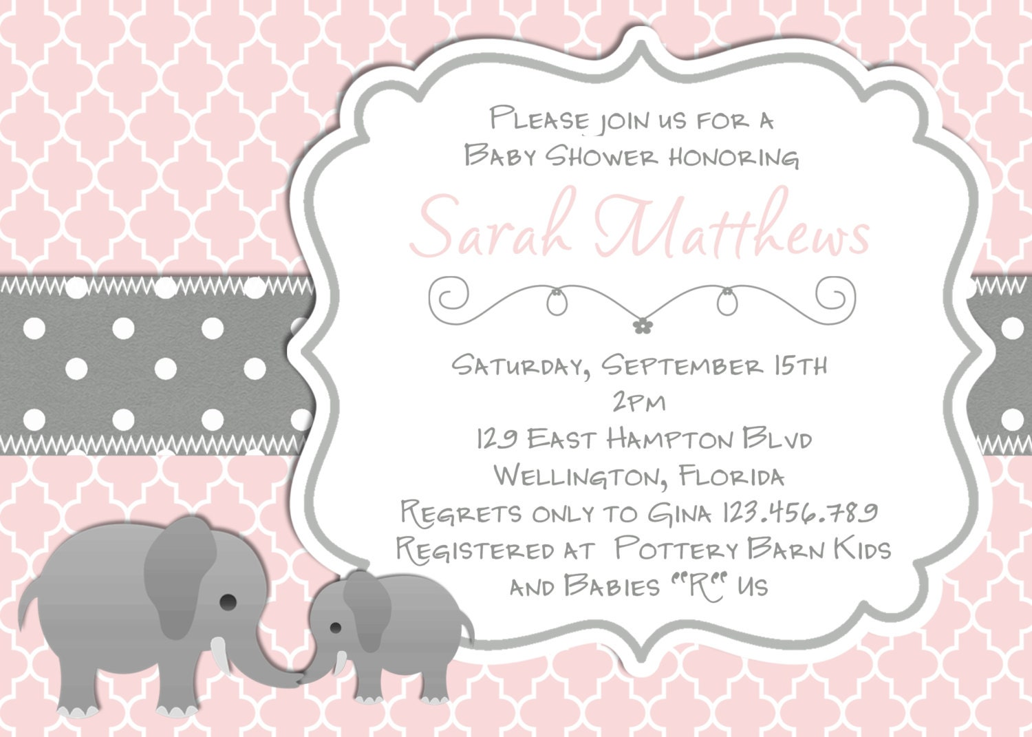 Elephant Baby Shower Invitation Baptism or Christening Pink