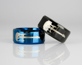 10mm Tungsten Band with Beveled Edge Electric Guitar Logo Ring - 10mm Tungsten Ring