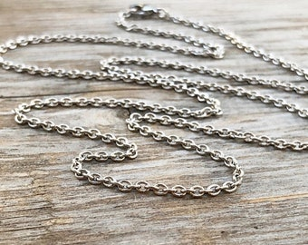 """SALE Destash Stainless Steel Necklace Small Cable Chain with Lobster Clasp, Finished Chain Silver Alternative 23"""" 24"""" inch 60cm 600mm"""