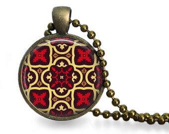 Moorish tile pendant necklace moroccan design antique bronze jewelry brown red yellow
