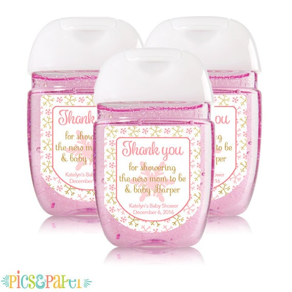 Personalized Mini Hand Sanitizer Labels Pink And Gold