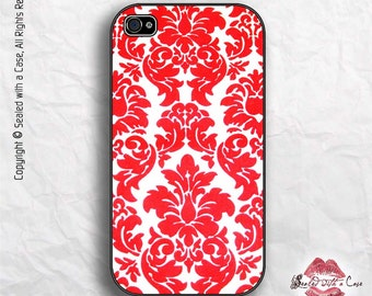 Red Damask pattern - iPhone 4/4S 5/5S/5C/6/6+ and now iPhone 7 cases!! And Samsung Galaxy S3/S4/S5/S6/S7