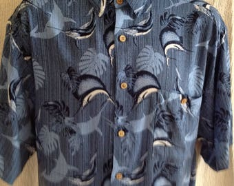 men's vintage '90's Puritan aloha hawaiian shirt size large rayon short sleeve button up Fishing Marlin print blue colours wood buttons