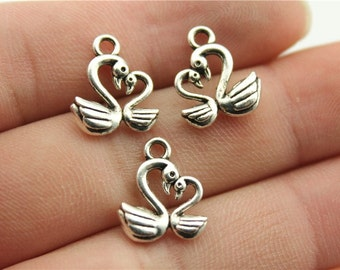 10 Swan Charms, Antique Silver Tone (1A-241)
