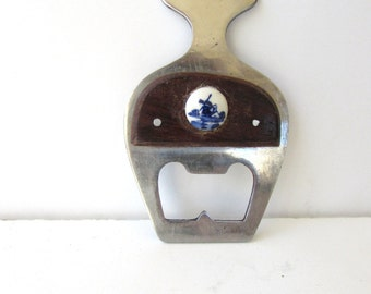 Delft Bottle Opener - Mid Century Barware - Blue and White Delft Accent on Wood - Small Bar Tool - Vintage Bottle Opener - Wood - Porcelain