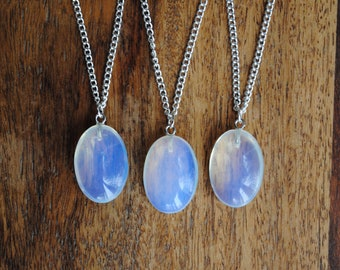Moonstone Oval Pendant Necklaces