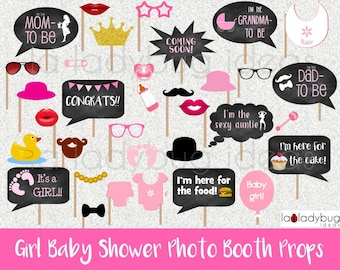 Baby shower props, Girl. Selfie station picture signs. Printable. DIY Pink baby shower bubble speech photo props. Instant download. PDF file