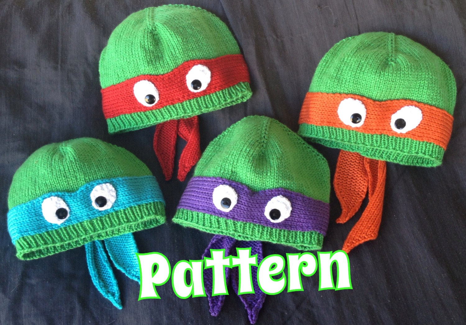 PATTERN ONLY: Hand-knit turtle hat with ribbed or rolled