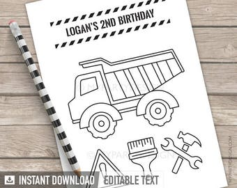 Construction Party Colouring Page - Truck Party Activity - Favors - Boy Birthday Party - INSTANT DOWNLOAD - Printable PDF with Editable Text