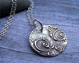 Paisley Necklace, Rustic Silver Jewelry, Oxidized Silver Necklace, Round Silver Pendant