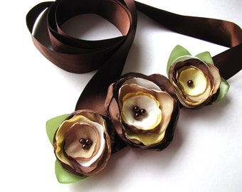 Bridal sash belt with handmade fabric flowers, fabric flowers, floral accessory, flower belt, wedding satin flowers- RUSTIC FALL WEDDING