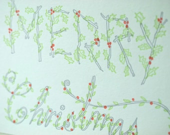 SALE - Letterpress Christmas Holiday Card - Holly Type