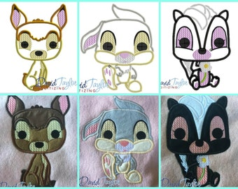 Pop Bambi, Thumper and Flower 3 design pack - 4x4, 5x7, 6x10 in 9 formats - Applique - Instant Download - David Taylor Digitizing