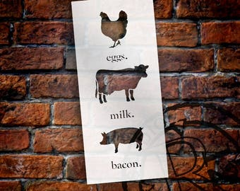 Eggs Milk Bacon - Word Art Stencil - Select Size - STCL1975 - by StudioR12